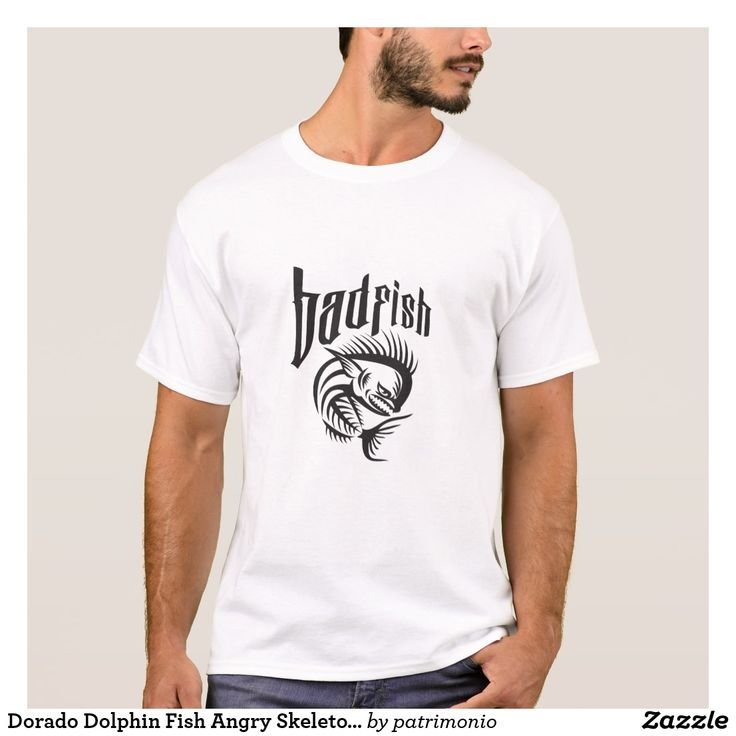 "Dorado Dolphin Fish Angry Skeleton Badfish Retro. T-shirt for men with an illustration of an angry dorado fish skeleton viewed from the side with the word ""badfish."" #tshirt #dorado #mahimahi"