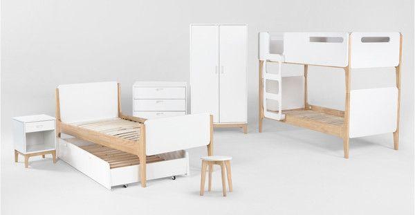 Cama individual Linus, Pino y Blanco - Elaborados