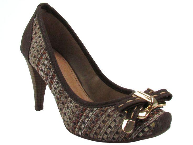 Mônica Shop - Feminino / Sapatos / Salto Alto / Lola Cruz 822 TP-4806 Sapato/Scarpin com Salto Médio e Bico Quadrado - Bege - Lola Cruz