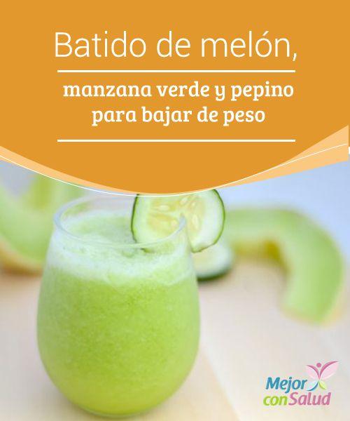 Batido de melón, manzana verde y pepino para bajar de peso  Te animamos a probar este delicioso batido de melón, manzana verde y pepino para bajar de peso. ¡No te lo pierdas, te va a encantar!