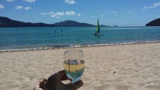 Champagne on arrival at Hamilton Island :)