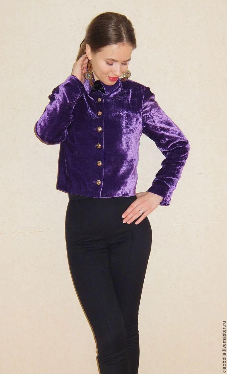 Купить Бархатный жакет - фиолетовый, однотонный, бархат, бархатный костюм, бархатный жакет, бархатный пиджак
