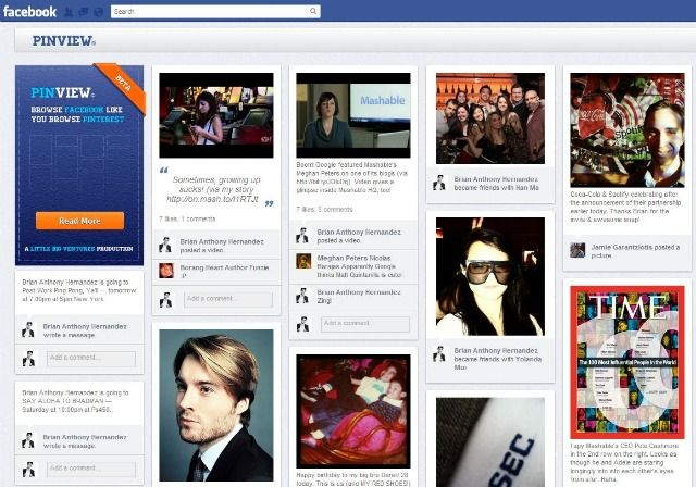 PinView Turns Your Facebook Timeline Into a Pinterest Board...4/19/12...from MashableApp Transforma, Social Presence, Facebook App, Social Media, Facebook Timeline, Facebook Ems, Socialmedia, Pinview, Pinterest Boards