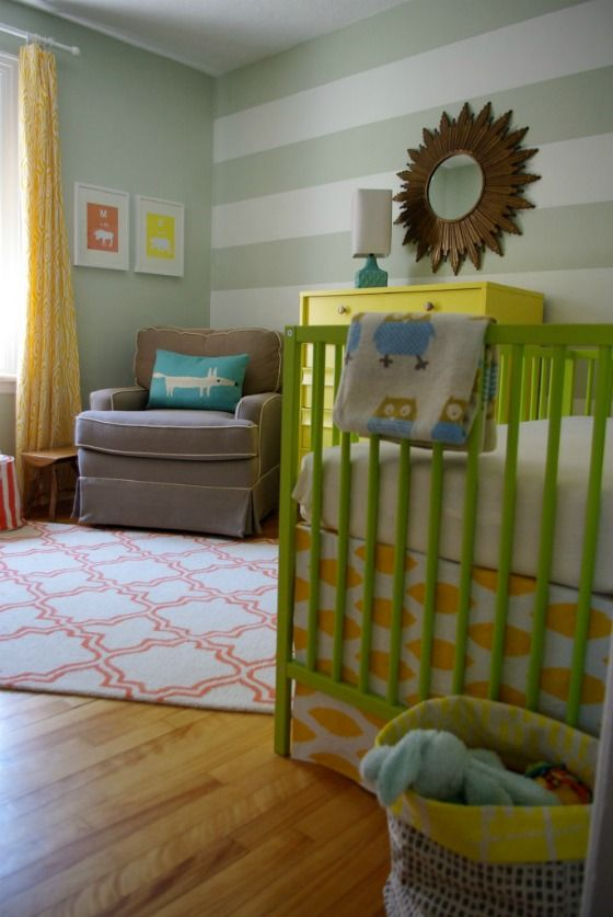 Great mix of patterns and bright colors with neutrals in this nursery!Wall Stripes With Green Paint, Wall Colors, Cribs Colors, Colors Stripes, Baby Rooms With Bright Cribs, Projects Nurseries, Colors Ideas, Bright Colors, Colors Cribs