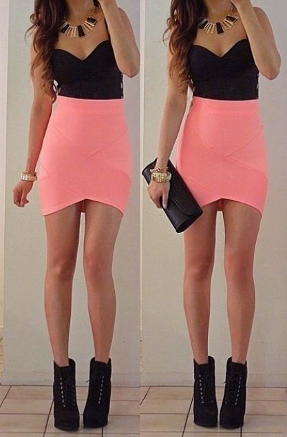 Black crop top and pink tight skirt