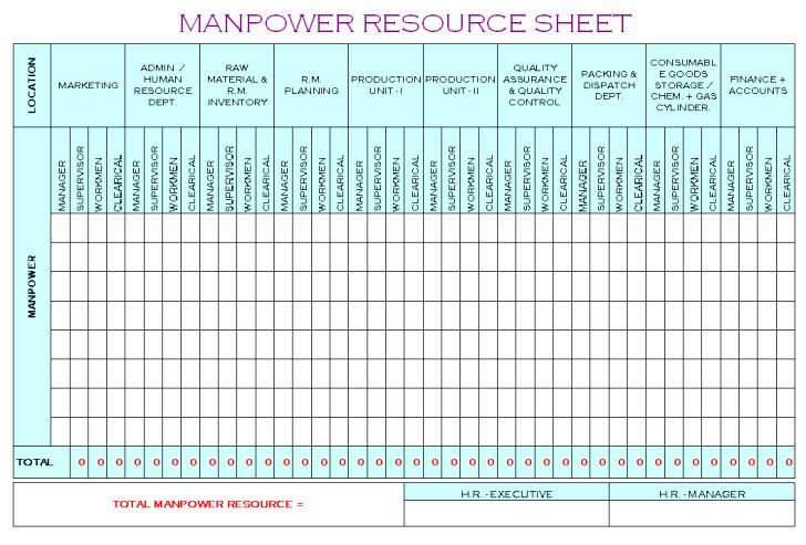 Manpower Schedule Excel New Project Manpower Planning Template