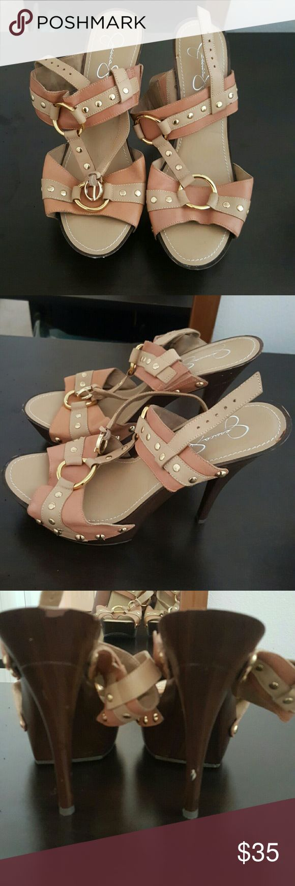 Tan leather Jessica Simpson sandals Tan Jessica Simpson harness sandals with gold hardware and strap around ankle. Jessica Simpson Shoes Sandals