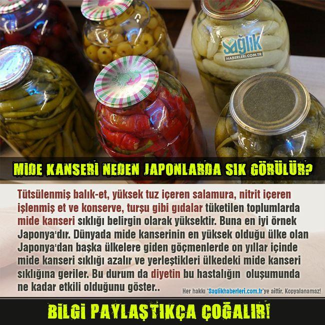 Tütsülenmiş balık ve et, yüksek tuz içeren gıda (salamura), nitrit içeren işlenmiş et ve konserve, turşu gibi gıdalar tüketilen toplumlarda mide kanseri sıklığı belirgin olarak yüksektir. Buna en iyi örnek Japonya'dır. Dünyada mide  kanserinin en yüksek olduğu ülke olan Japonya'dan başka ülkelere giden göçmenlerde on yıllar içinde mide kanseri sıklığı azalır ve yerleştikleri ülkedeki mide kanseri sıklığına geriler.  #sağlık #saglik #sağlıkhaberleri #health #healthnews @saglikhaberleri