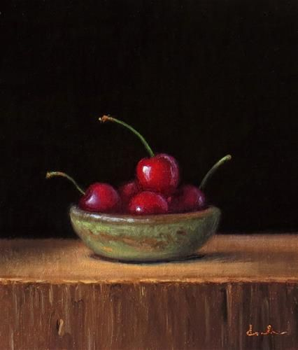 """Daily Paintworks - """"Still Life with Handmade Bowl and Cherries"""" - Original Fine Art for Sale - © Darla McDowell"""