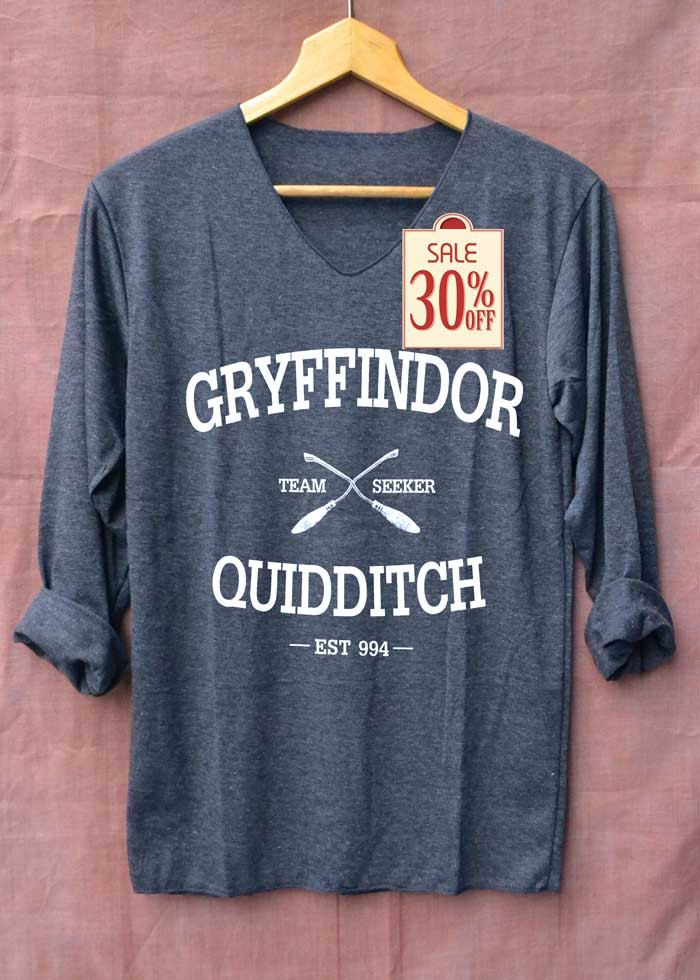 Gryffindor Shirt Quidditch Harry Potter Shirts Long Sleeve Unisex Adults Size S M L by topsfreeday on Etsy