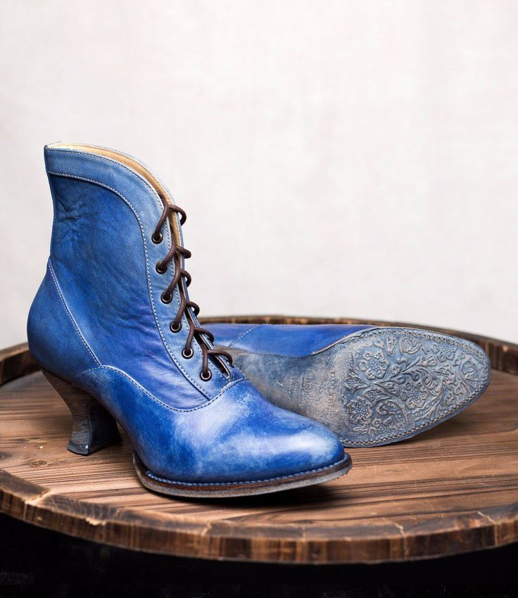 Modern Victorian Shoes Vintage Style Victorian Lace Up Leather Boots in Steel Blue $235.00 AT vintagedancer.com