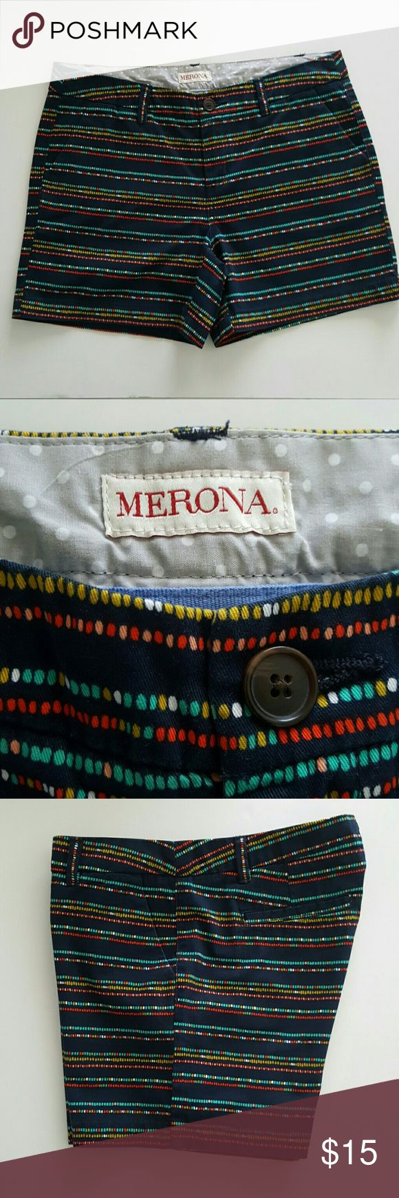 Merona Shorts Navy Blue w/ colorful stripes, Great for combine W / T-shirt or Blouses, dressy or informal Attire!! Merona Shorts Skorts