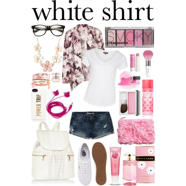 """style a white tee #1"" by michellezee on Polyvore"