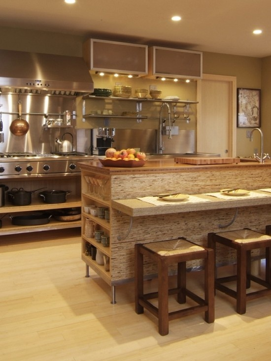 Love The Kitchen Island! Great Kitchen With A Modern Twist. Great Bamboo  Floors Add