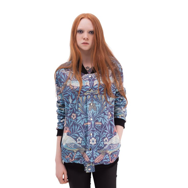 """""""Blue Bird"""" Printed Baseball Jacket by MR. GUGU & MISS GO 