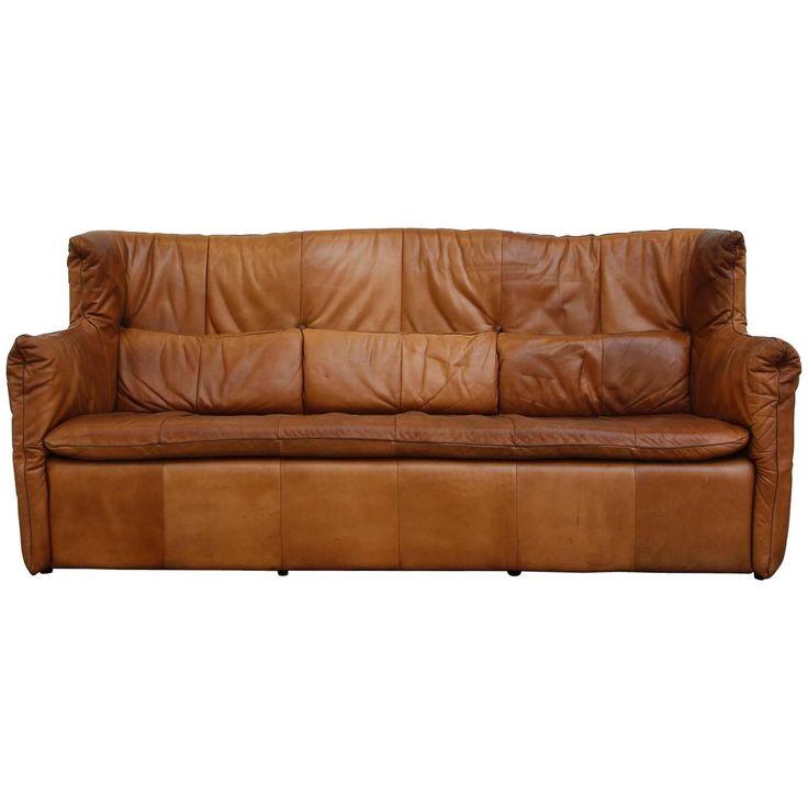 Gerard Van den Berrg Natural Leather Sofa | 1stdibs.com