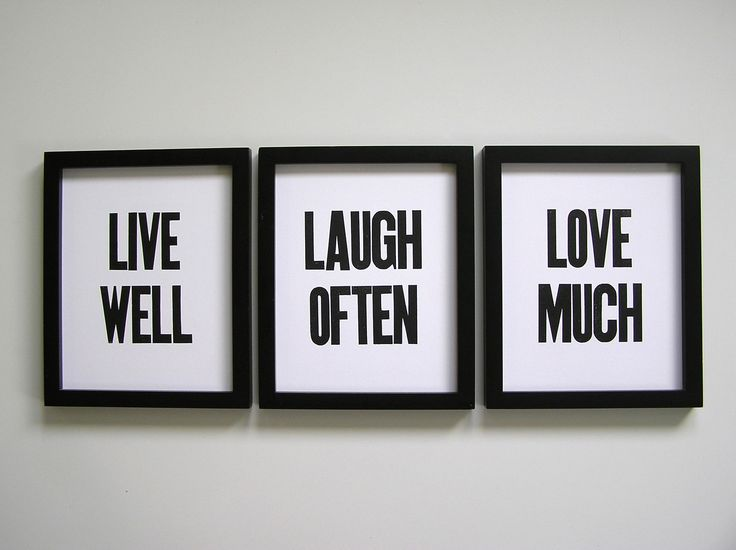 Simple Letterpress Prints Live Well Laugh Often by happydeliveries, via Etsy.