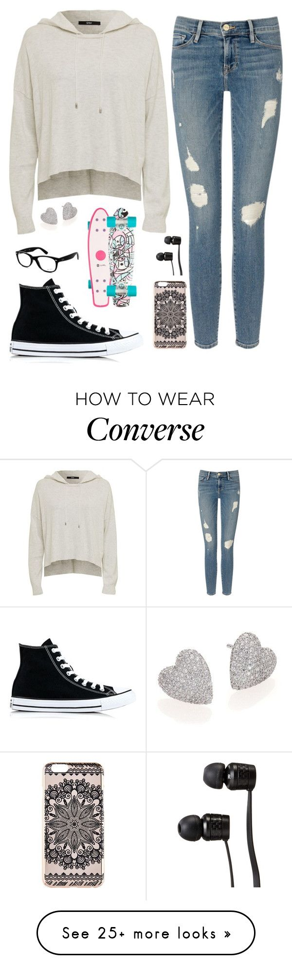 """""""Ride"""" by clouded4ever on Polyvore featuring Frame Denim, Converse, Adriana Orsini, Vans, New Look and Ray-Ban"""