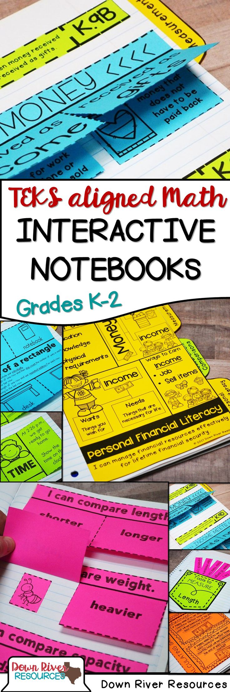 TEKS-aligned Math Interactive Notebooks | Kindergarten Math Interactive Notebook | First Grade Math Interactive Notebook | Second Grade Math Interactive Notebook | Interactive Notebook for Math | Math Folds and Flaps | Math Foldables | Texas Math TEKS