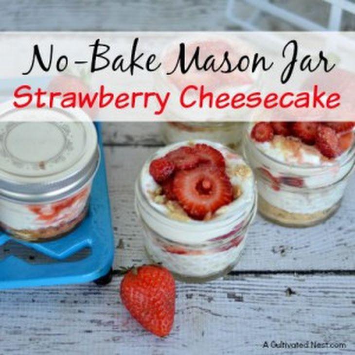 No-Bake Mason Jar Strawberry Cheesecake Recipe Desserts with cream cheese, powdered sugar, vanilla, strawberries, granulated white sugar, lemon juice, graham crackers