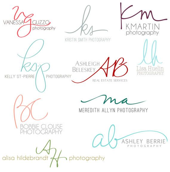 Handwritten Initials, Custom Logo, photoshop brush, transparent .png files photography business