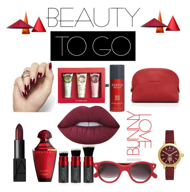 """RED LOVE #beutytogo"" by aulianka on Polyvore featuring beauty, NARS Cosmetics, Lime Crime, Guerlain, The Body Shop, Smashbox, Givenchy, Cutler and Gross, Longchamp and Tory Burch"