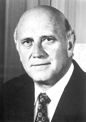 "Frederik Willem de Klerk, The Nobel Peace Prize 1993: ""for their work for the peaceful termination of the apartheid regime, and for laying the foundations for a new democratic South Africa"""