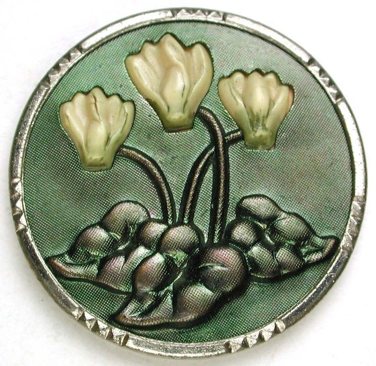 Antique Tinted Steel Button 3 Flowers Celluloid Protrusion Design - 1'