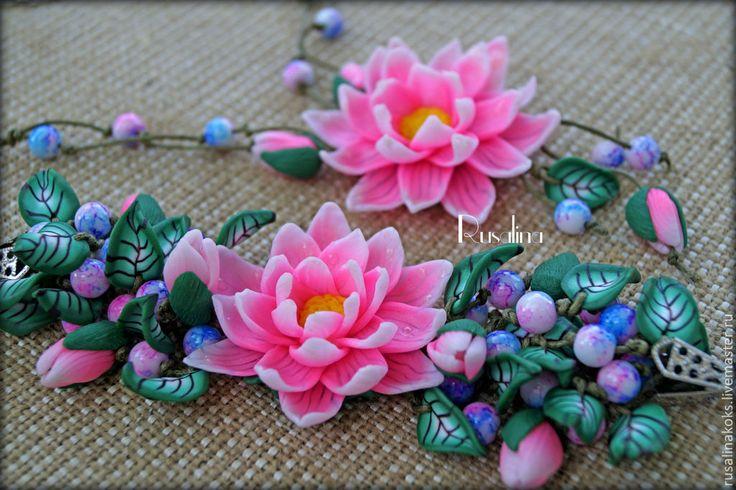 """Купить Комплект """"Цветок Востока"""" - розовый, лотос, комплект с цветами, цветы лотоса, розовые цветы"""