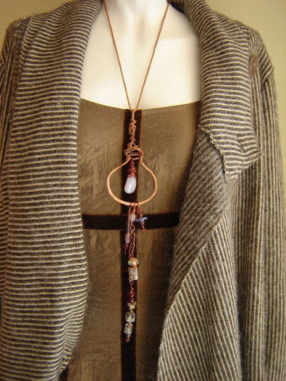 Lagenlook copper wire necklace agate crystal glass by alfiyaV