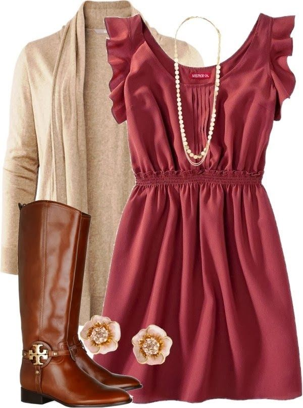 Brown Fall Dresses Brown long jacket long dress