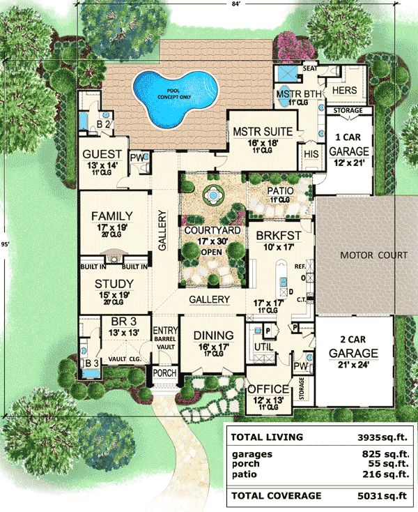 Best 25 courtyard house plans ideas on pinterest house for Luxury home plans with pools