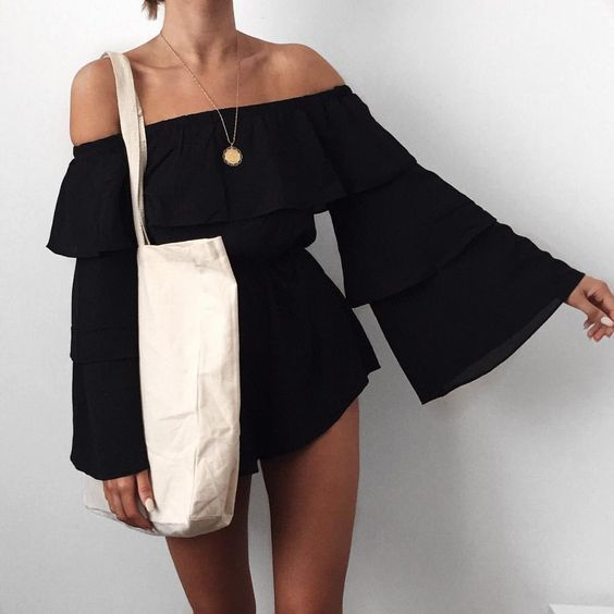 Off shoulder flouted sleeve playsuit