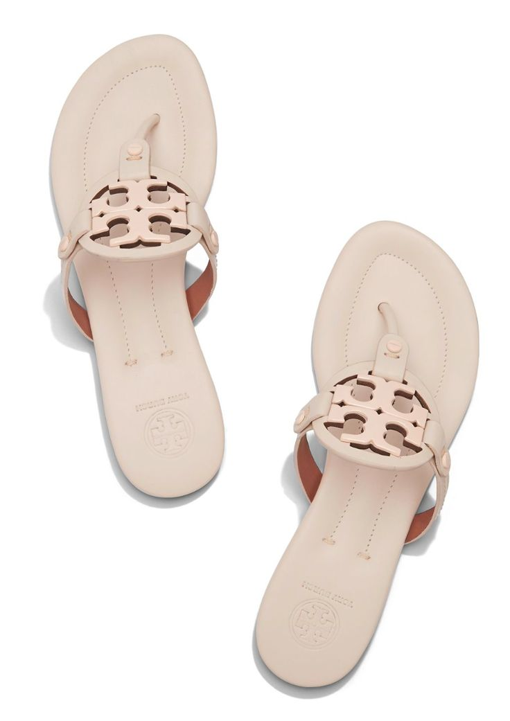 Tory Burch Miller Sandal in Dulche de Leche Size 7 -- DETAILS & FIT cm)  stacked heel Hand-painted leather upper Enameled metal double-T logo  Cushioned ...