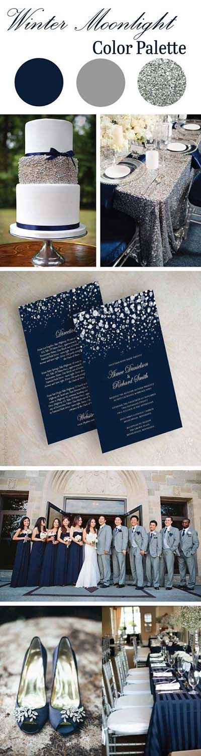 Winter Wedding Color Scheme :: Navy and Silver Glitter Wedding Colors