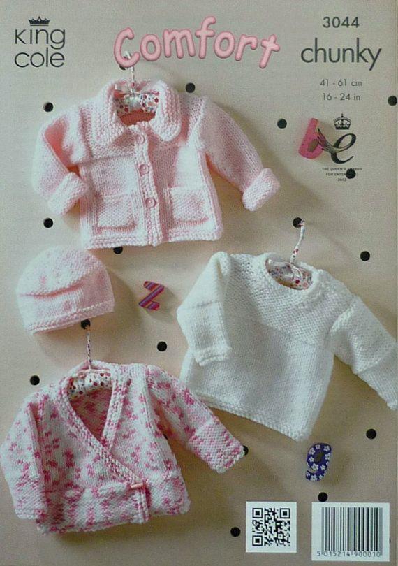 K3044 Babies Cardigans Jumper & Hat Chunky by KnittingPatterns4U, £3.21