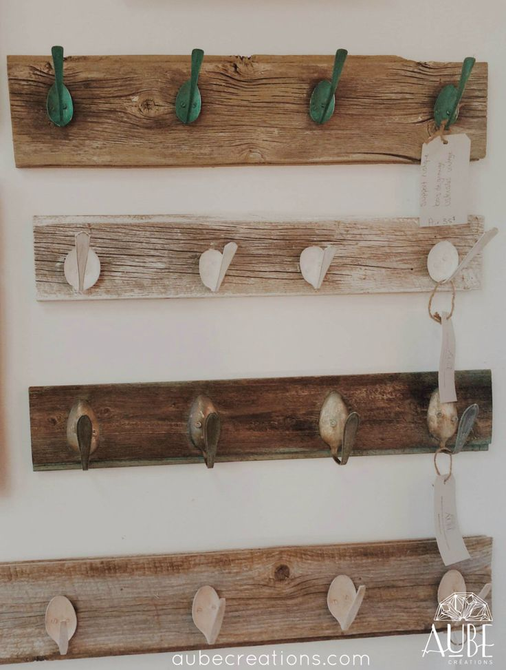 Coat hook- wood from old barn and vintage spoon by AUBEdesign on Etsy https://www.etsy.com/listing/211130583/coat-hook-wood-from-old-barn-and-vintage