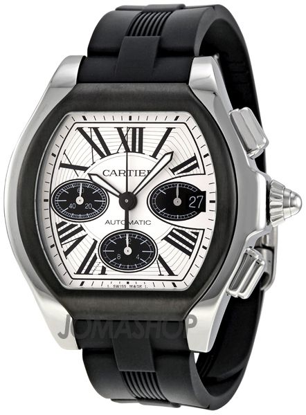 Cartier Roadster Chronograph Silver Dial Black Rubber Automatic Mens Watch W6206020 $5,699