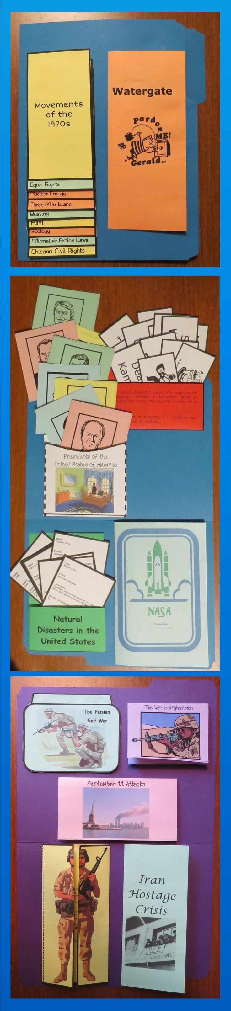 This Modern American History Lap Book covers events of from the 1970s to present. It contains interactive organizers which may be glued onto a file folder to form a lap book, added to interactive notebooks, or used individually. $
