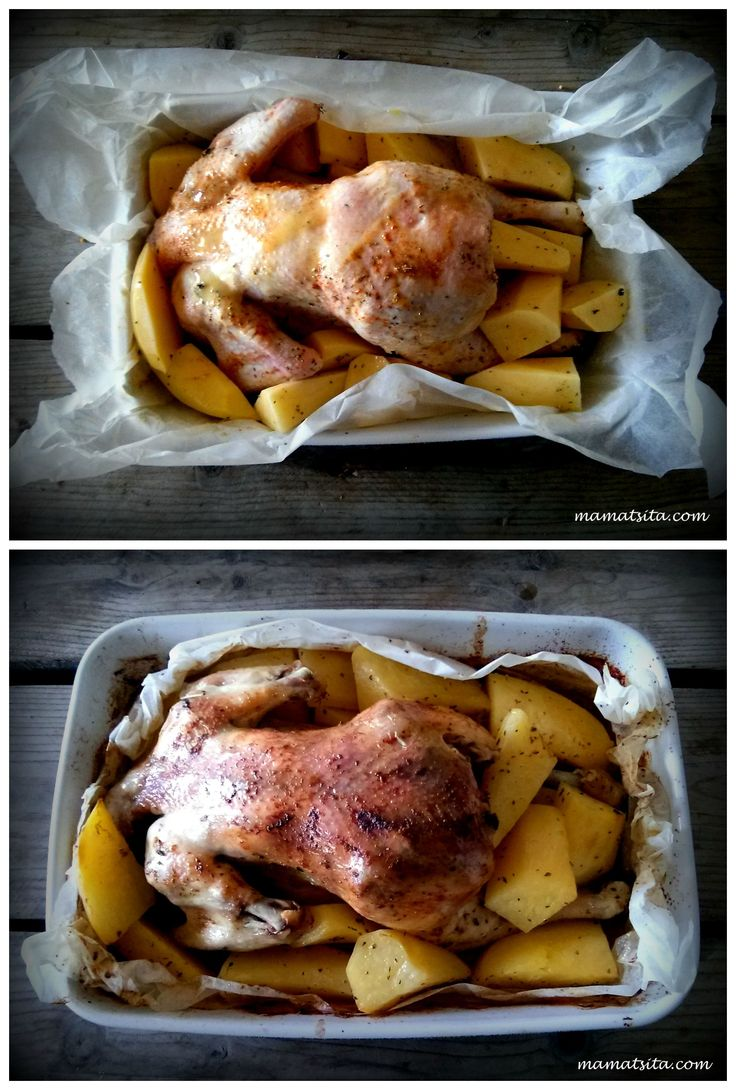 Tip for even more delicious roasted chicken with potatoes #tip #roasted #chicken #mamatsita