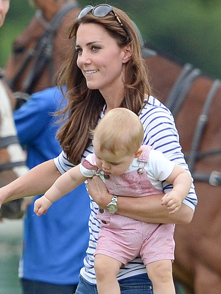 Prince George and Kate Cheer on Prince William During Father's Day Polo Match in Gloucestershire, June 15, 2014.