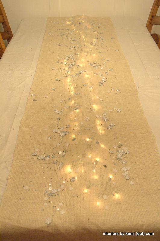 Strand of lights under burlap for a simple holiday table-scape Could easily be a sand table scape put some shells out change up your colors 4th of july etc