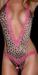 Sexy Brown Animal Print Crotchless Teddy Monokini Lingerie Pink Lace