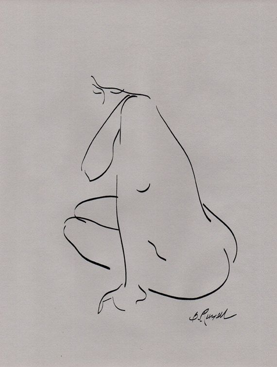 Contour Line Drawing Nude Gray Paper by BRussellArt on Etsy