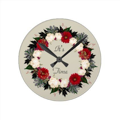 "Wreath ""Fleur"" Flowers Floral Clock - floral style flower flowers stylish diy personalize"