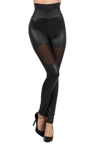 Bring out the sexy side to your personality with our  Peek Through High Waist Faux Leather Leggings.  This is a wonderful black faux leather legging that is high wasited and comes with a sexy thigh cut out mesh panel that adds that perfect touch for the spring and summer.  Whether its for a night out clubbing or dressing up for a dinner out, our Peek Through High Waist Faux Leather Leggings will be a hit everytime you put them on.