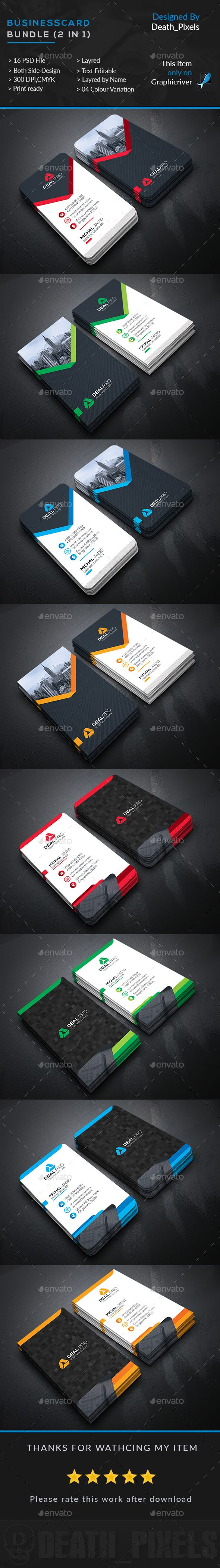 Business Card Bundle (2 in 1) Template PSD. Download here: http://graphicriver.net/item/business-card-bundle-2-in-1/16103007?ref=ksioks
