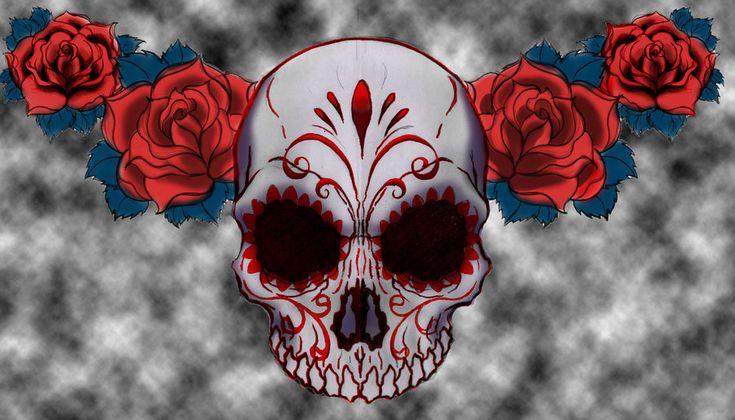 sugar skull drawing color - Google Search