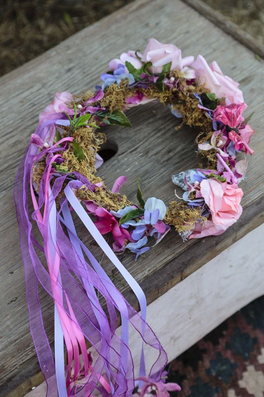 floral crown with tassels