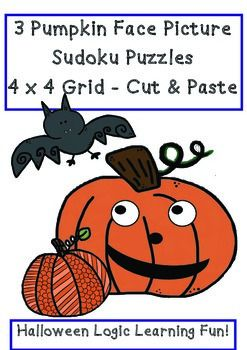 Halloween Pumpkin Face Sudoku Puzzles 4  x 4 Cut & Paste 3 Different  Fun Logic Math Puzzles with a Pumpkin Theme  3 Different Puzzles and sets of pumpkins to cut and paste into the correct places for each different puzzle  Simply print/copy and you're ready to go!  Thanks so much for visiting!